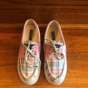 Sperry pink and blue 2 eyed boat shoes. Size 7